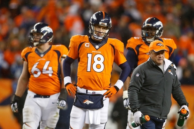 Jan 11, 2015; Denver, CO, USA; Denver Broncos quarterback Peyton Manning (18) at the end of the fourth quarter in their loss to the Indianapolis Colts in the 2014 AFC Divisional playoff football g ...