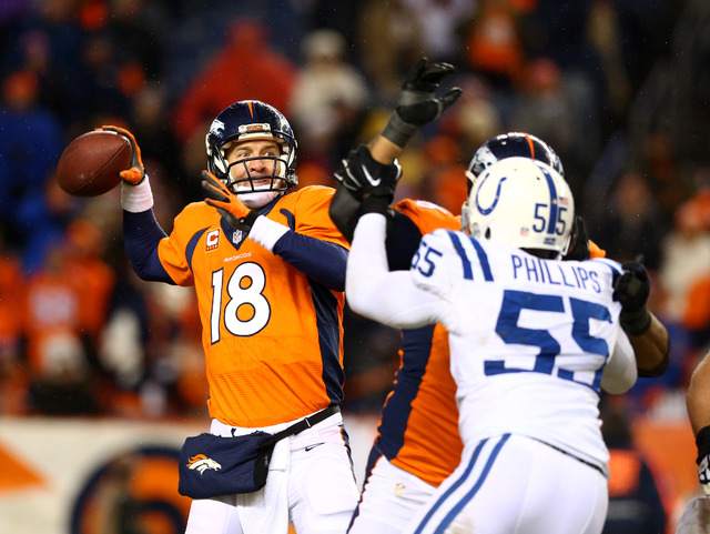 Jan 11, 2015; Denver, CO, USA; Denver Broncos quarterback Peyton Manning (18) throws a pass in the fourth quarter against the Indianapolis Colts in the 2014 AFC Divisional playoff football game at ...