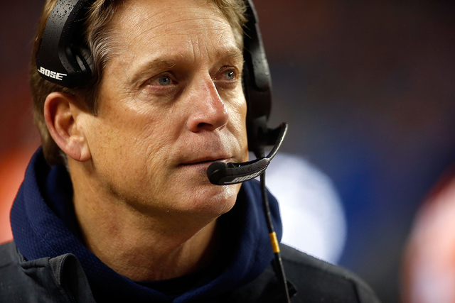 Jan 11, 2015; Denver, CO, USA; Denver Broncos defensive coordinator Jack Del Rio on the sidelines at the end of the fourth quarter in their loss to Indianapolis Colts in the 2014 AFC Divisional pl ...