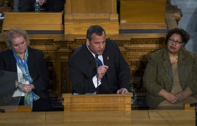 New Jersey Gov. Chris Christie delivers his state of the state address at the New Jersey State House in Trenton, Tuesday, Jan. 13, 2015. (Reuters/Mike Segar)