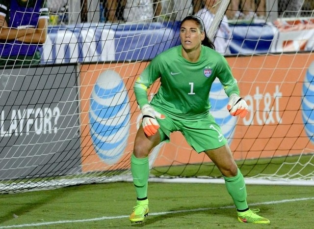 USA goalkeeper Hope Solo (1) watches a cross during a women's friendly between the USA and Switzerland at Wake Med Soccer Park in Cary, N.C., Aug 20, 2014. (Rob Kinnan-USA Today)