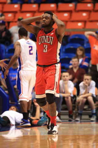 Jan 13, 2015; Boise, ID, USA; UNLV Rebels guard Jordan Cornish (3) reacts to an offensive foul called on him in first half action at Taco Bell Arena against the Boise State Broncos. Mandatory Cred ...