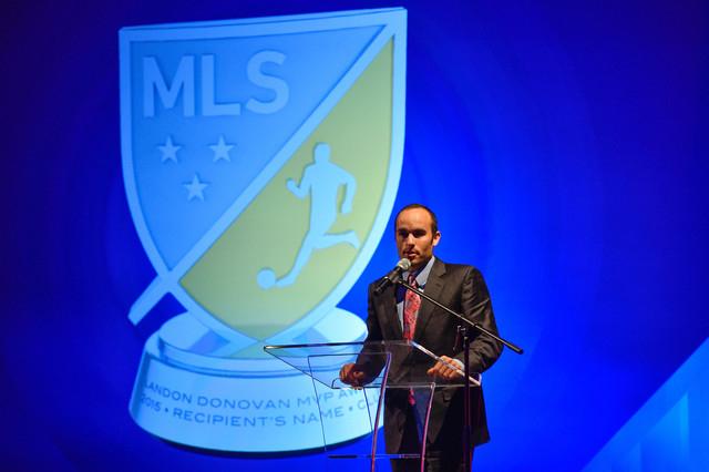 Jan 15, 2015; Philadelphia, PA, USA; Landon Donovan gives a speech during the Landon Donovan MVP award tribute event  at Marriott Downtown. (Derik Hamilton-USA TODAY Sports)