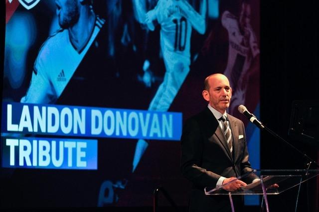 Jan 15, 2015; Philadelphia, PA, USA; MLS commissioner Don Garber speaks during the Landon Donovan MVP award tribute event  at Marriott Downtown. (Derik Hamilton-USA TODAY Sports)