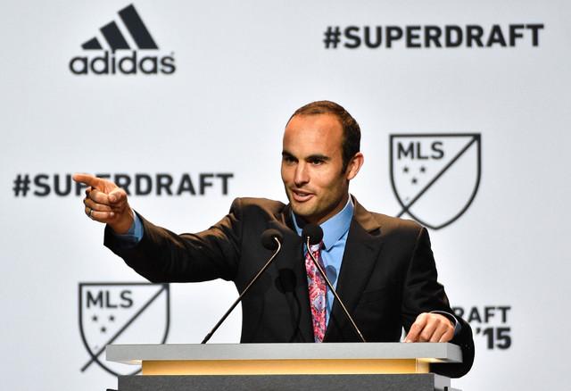 Jan 15, 2015; Philadelphia, PA, USA; Landon Donovan talks to the crowd before the 2015 MLS SuperDraft at Philadelphia Convention Center. (Derik Hamilton-USA TODAY Sports)