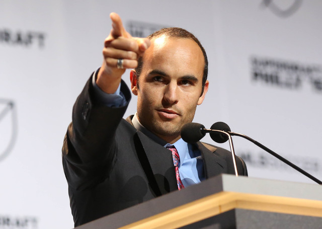 Jan 15, 2015; Philadelphia, PA, USA; Landon Donovan addresses the crowd from the stage to begin the 2015 MLS SuperDraft at Philadelphia Convention Center. (Bill Streicher-USA TODAY Sports)