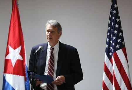Deputy Assistant Secretary for South America and Cuba Bureau of Western Hemisphere Affairs Alex Lee addresses the media during negotiations to restore diplomatic ties with Cuba in Havana, Wednesda ...