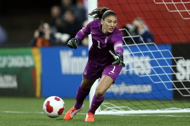 U.S. goalkeeper Hope Solo (1) looks to make a save during the second half against Canada at Investors Group Field in Winnipeg, Manitoba, Canada, May 8, 2014. Canada and USA played to a 1-1 draw. ( ...