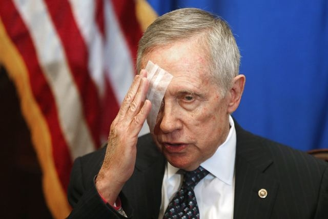 U.S. Senate Minority Leader Harry Reid, D-Nev., talks about his health during a news conference in his office at the U.S. Capitol in Washington, Thursday, Jan. 22, 2015. Reid injured his right eye ...