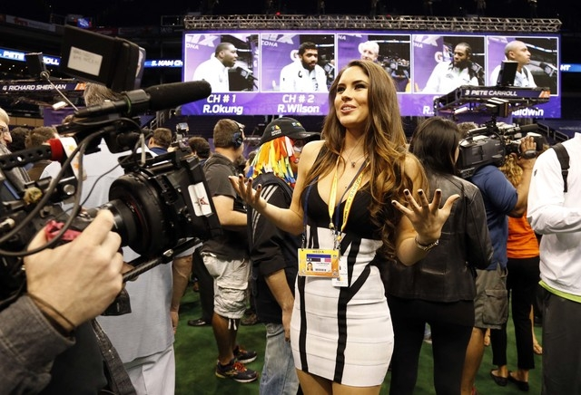 TV Azteca correspondent Lucero Montemayor in attendance during media day for Super Bowl XLIX at US Airways Center. (Matthew Emmons-USA TODAY Sports)