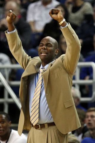 Jan 27, 2015; Reno, NV, USA; Nevada Wolf Pack head coach David Carter calls in a play in the second half of their NCAA basketball game at Lawlor Events Center. Mandatory Credit: Lance Iversen-USA  ...
