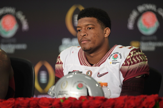 Florida State Seminoles quarterback Jameis Winston (5) during the post-game press conference after the 2015 Rose Bowl college football game at Rose Bowl. Oregon Ducks defeated Florida State Semino ...