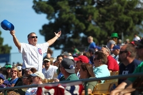 A Chicago Cubs fan tries to enliven the crowd as the team trails behind the Texas Rangers during the Big League Weekend at Cashman Field in Las Vegas in 2013. (Las Vegas Review-Journal file photo)