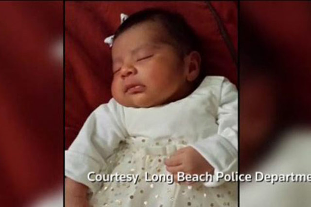 Three-week-old Eliza Delacruz was taken from a home in Long Beach, California, on Saturday. Her body was found in a strip mall dumpster in San Diego Sunday afternoon, police said. (Screengrab/Reuters)