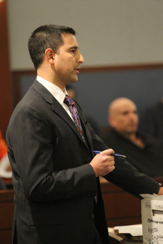 Clark County Deputy Attorney Jay Raman speaks during the sentencing hearing of Ivy Rasmussen and her husband Robert Ballew at the Regional Justice Center in Las Vegas Wednesday, Jan. 14, 2015. Ras ...