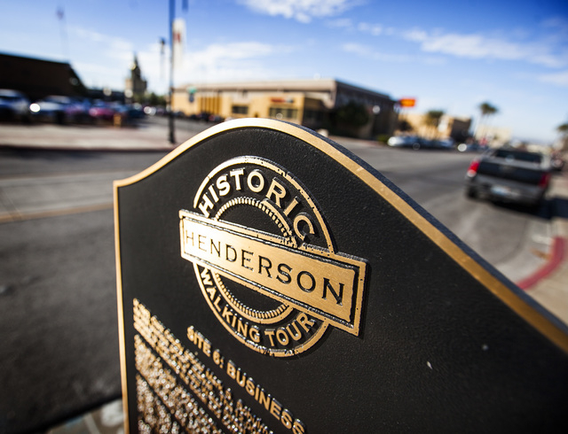 A sign on Water Street in Henderson is seen Friday, Jan. 9, 2014. City officials and businesses are trying to remake the downtown corridor.  (Jeff Scheid/Las Vegas Review-Journal)