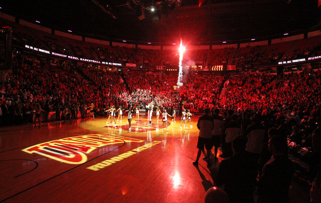 Fireworks explode before UNLV takes on UNR in a basketball game Wednesday, Jan. 7, 2015, at the Thomas & Mack Center in Las Vegas. (K.M. Cannon/Las Vegas Review-Journal)