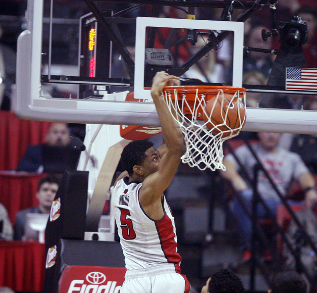 UNLV forward Christian Wood dunks against UNR in the first half of their basketball game Wednesday, Jan. 7, 2015, at the Thomas & Mack Center in Las Vegas. (Sam Morris/Las Vegas Review-Journal)