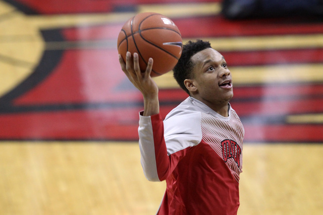 UNLV guard Rashad Vaughn warms up before their Mountain West Conference basketball game against UNR Wednesday, Jan. 7, 2015, at the Thomas & Mack Center. (Sam Morris/Las Vegas Review-Journal)