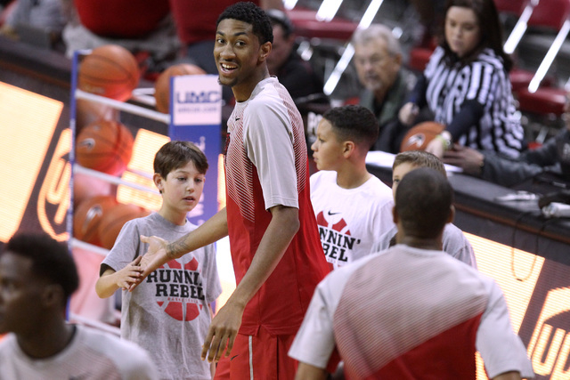 UNLV forward Christian Wood warms up before their Mountain West Conference basketball game against UNR Wednesday, Jan. 7, 2015, at the Thomas & Mack Center. (Sam Morris/Las Vegas Review-Journal)