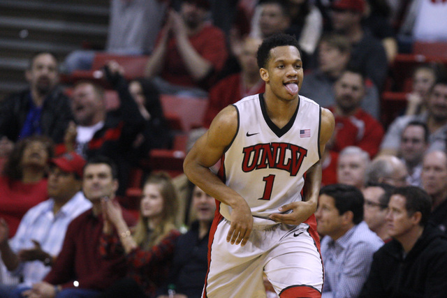 UNLV guard Rashad Vaughn sticks out his tongue after draining a 3-point shot against UNR during their Mountain West Conference basketball game Wednesday, Jan. 7, 2015, at the Thomas & Mack Center. ...