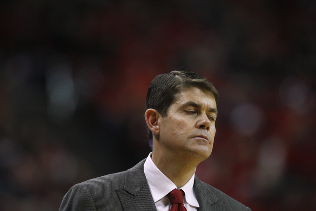 UNLV head coach Dave Rice reacts after the Rebels were called for a foul late in their Mountain West Conference basketball game against UNR Wednesday, Jan. 7, 2015, at the Thomas & Mack Center. UN ...