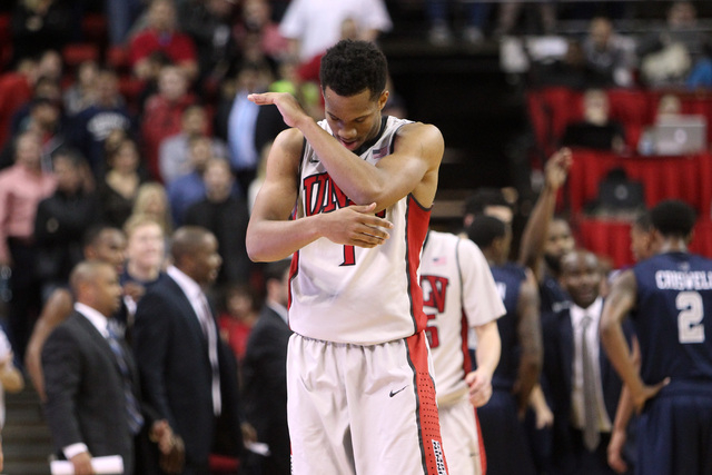 UNLV guard Rashad Vaughn claps his hands in frustration late in their Mountain West Conference basketball game against UNR Wednesday, Jan. 7, 2015, at the Thomas & Mack Center. UNR won the game 64 ...