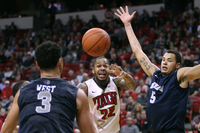 UNLV guard Jelan Kendrick loses the ball after being fouled during their Mountain West Conference basketball game against Wednesday, Jan. 7, 2015, at the Thomas & Mack Center. UNR won the game 64- ...