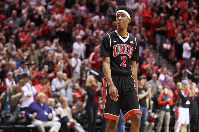 UNLV guard Patrick McCaw looks up in the stands as San Diego State adds to its lead during the second half of their Mountain West Conference game Saturday, Jan. 17, 2015, at Viejas Arena in San Di ...