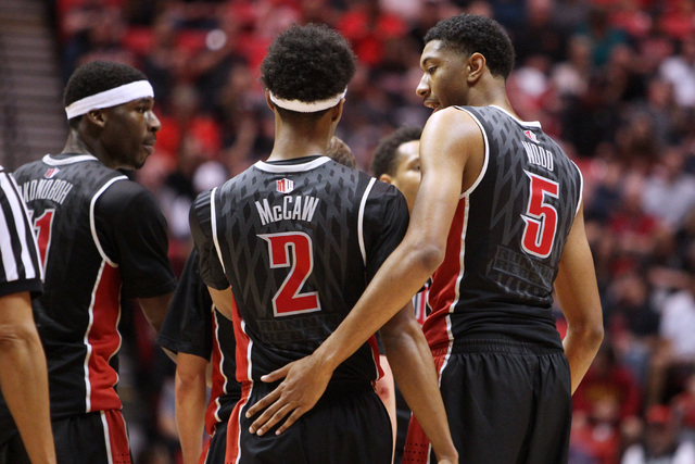 UNLV forward Goodluck Okonoboh and forward ChrisWood talk with guard Patrick McCaw after a time out during the second half of their Mountain West Conference game against San Diego State Saturday,  ...