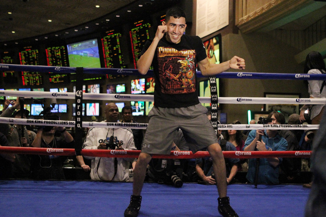 Leo Santa Cruz shadow boxes for fans during a promotional event at the MGM Grand casino-hotel in Las Vegas Wednesday, Jan. 14, 2015. (Erik Verduzco/Las Vegas Review-Journal)