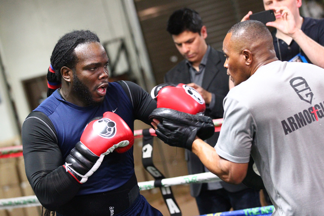 Boxer Bermane Stiverne, left, works out with his trainer Don House at Mayweather Boxing Club in Las Vegas on Friday, May 2, 2014. (Chase Stevens/Las Vegas Review-Journal)