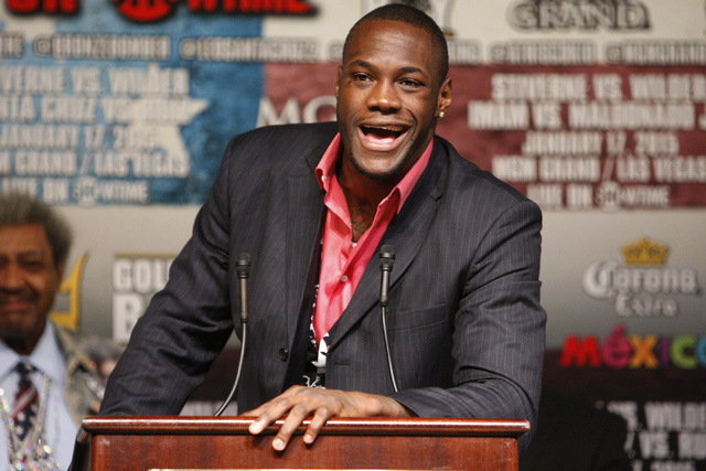 Deontay Wilder speaks during a press conference at the MGM Grand casino-hotel for his upcoming boxing bout for the World Boxing Council heavyweight championship title against Bermane Stiverne Thur ...