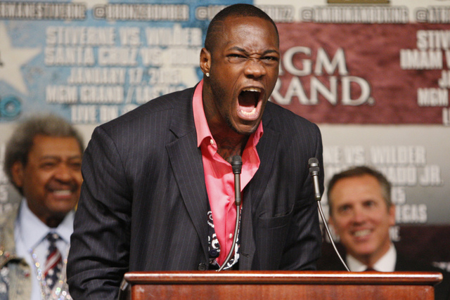 Deontay Wilder yells during a press conference at the MGM Grand casino-hotel for his upcoming boxing bout for the World Boxing Council heavyweight championship title against Bermane Stiverne Thurs ...