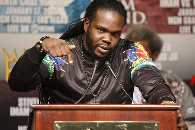 Bermane Stiverne speaks during a press conference at the MGM Grand casino-hotel for his boxing bout for his World Boxing Council heavyweight championship title against Deontay Wilder Thursday, Jan ...