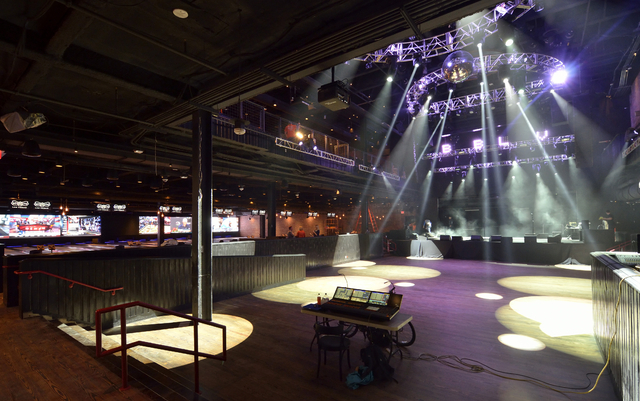 Brooklyn Bowl at The Linq on the Las Vegas Strip has a performance space, right, and bowling lanes, background. (Bill Hughes/Las Vegas Review-Journal)