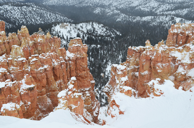 Hoodoos tipped in snow are visible only a few steps from your car at the overlooks at Bryce Canyon National Park. (Las Vegas Review-Journal file photo)