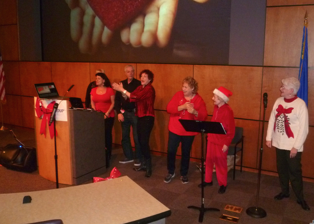 Members of The Speeding Theatre Over 55 perform during the A Care Givers Christmas event hosted by The Friends of Parkinson's, in conjunction with nonprofit Courage Unlimited, a Southern Nevada  ...