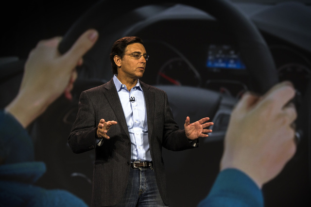 Mark Fields, president and CEO of Ford Motor Company, gives a keynote speech Tuesday, Jan. 6, 2015, at the Palazzo Ballroom at the Venetian. Fields discussed the latest technology that the auto co ...