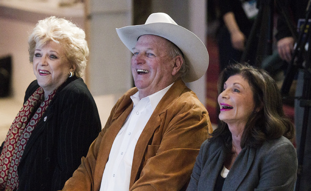 Las Vegas Mayor Carolyn Goodman, left, Clark County Commissioner Tom Collins and former congress woman Shelley Berkley, CEO of Touro University laugh while Gary Shapiro, president and CEO of Consu ...