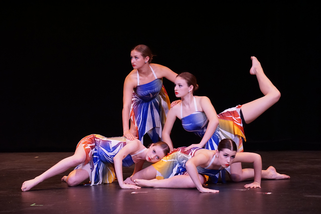 From left, Lily Saxton, senior conservatory dance major Chelsea Mathews, Kailee Myxter and Molly Shaw perform during a contemporary dance recital in 2014 at Faith Lutheran High School, 2015 S. Hua ...