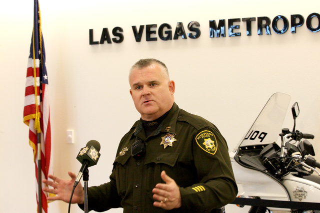Captain Rich Forbus discusses the first day of the Las Vegas constable's office operating under the oversight of the Metropolitan Police Department in a press conference at the offices of t ...