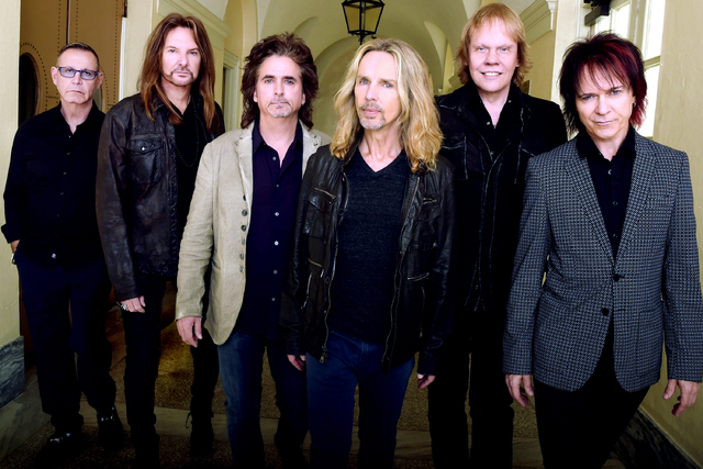 """Chuck Panozzo, Ricky Phillips, Todd Sucherman, Tommy Shaw, James """"J.Y."""" Young and Lawrence Gowan. Portrait shoot at Macon City Auditorium on October 4, 2014 in Macon, Georgia.  (Rick Diamond/Getty ..."""