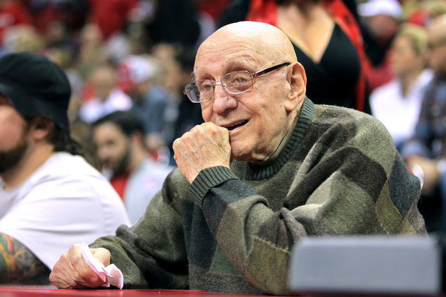 Former UNLV coach Jerry Tarkanian watches the Rebels take on Morehead State Friday, Nov. 14, 2014 at the Thomas & Mack Center. (Sam Morris/Las Vegas Review-Journal)