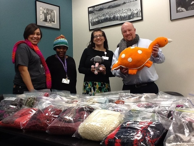 Patrons crafted almost 300 items to be donated to SAFE House NV and St. Timothy's Episcopal Church for the Gibson Library's Crafting for a Cause program. From left, Shakita Kirkland, Marsha Bagget ...