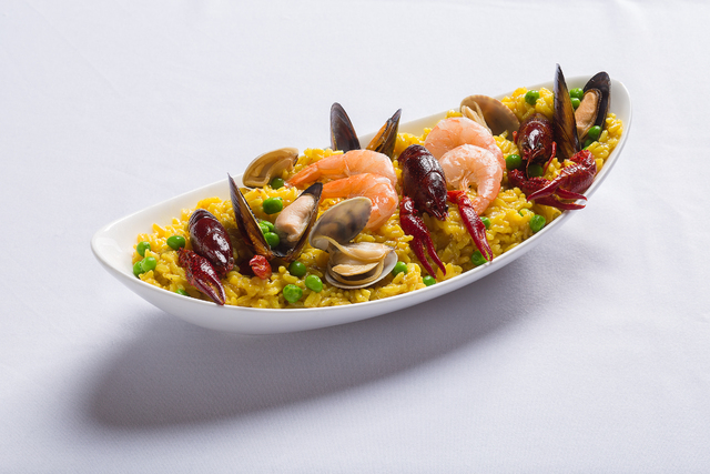 Seafood paella, The Buffet at Excalibur (Courtesy)