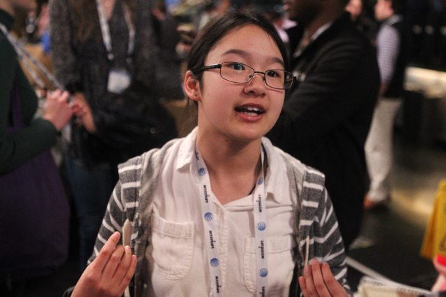 Sabrina Wallace, is interviewed during the 2015 AT&T Developer Summit and Hackathon at the Palms casino-hotel in Las Vegas Sunday, Jan. 4, 2015. Sabrina, the youngest competitor at the hackaton ev ...