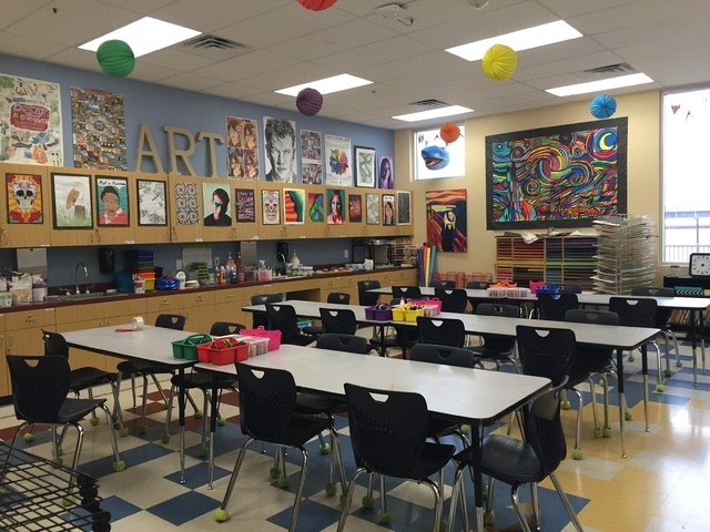 Students at the Somerset Academy of Las Vegas Stephanie Campus, 50 N. Stephanie St, study an array of subjects, including art. The campus opened in August and teaches kindergarten through eighth g ...