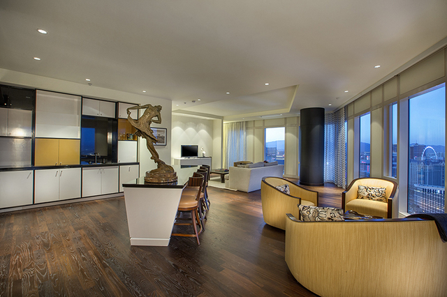 Mandarin Oriental penthouse at 3750 S. Las Vegas Blvd., No. 3904, features a custom bar/lounge that was designed and built by Charles Gemeiner Cabinets. (Courtesy photo )