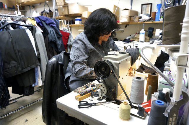 Longtime Mastroianni Fashions employee Connie Jada tailors garments at the business' 1701 S. Decatur Blvd. location. (Diane Taylor/Special to View)